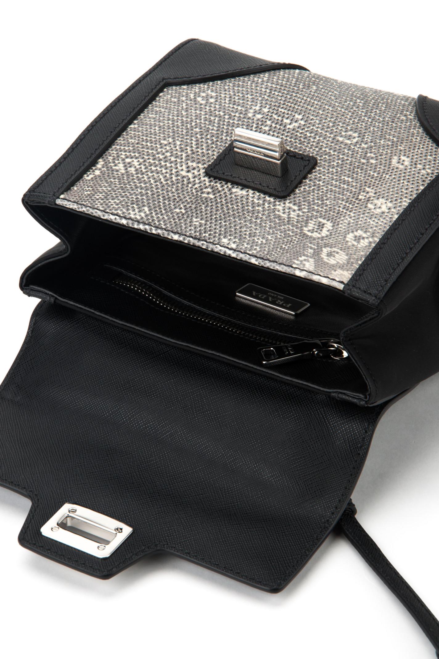 Prada Twill And Lizard Bag in Silver (NERO+ROCCIA)   Lyst