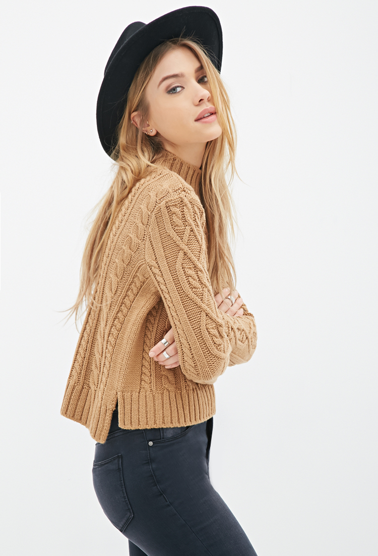 forever 21 cable knit mockneck sweater in brown lyst
