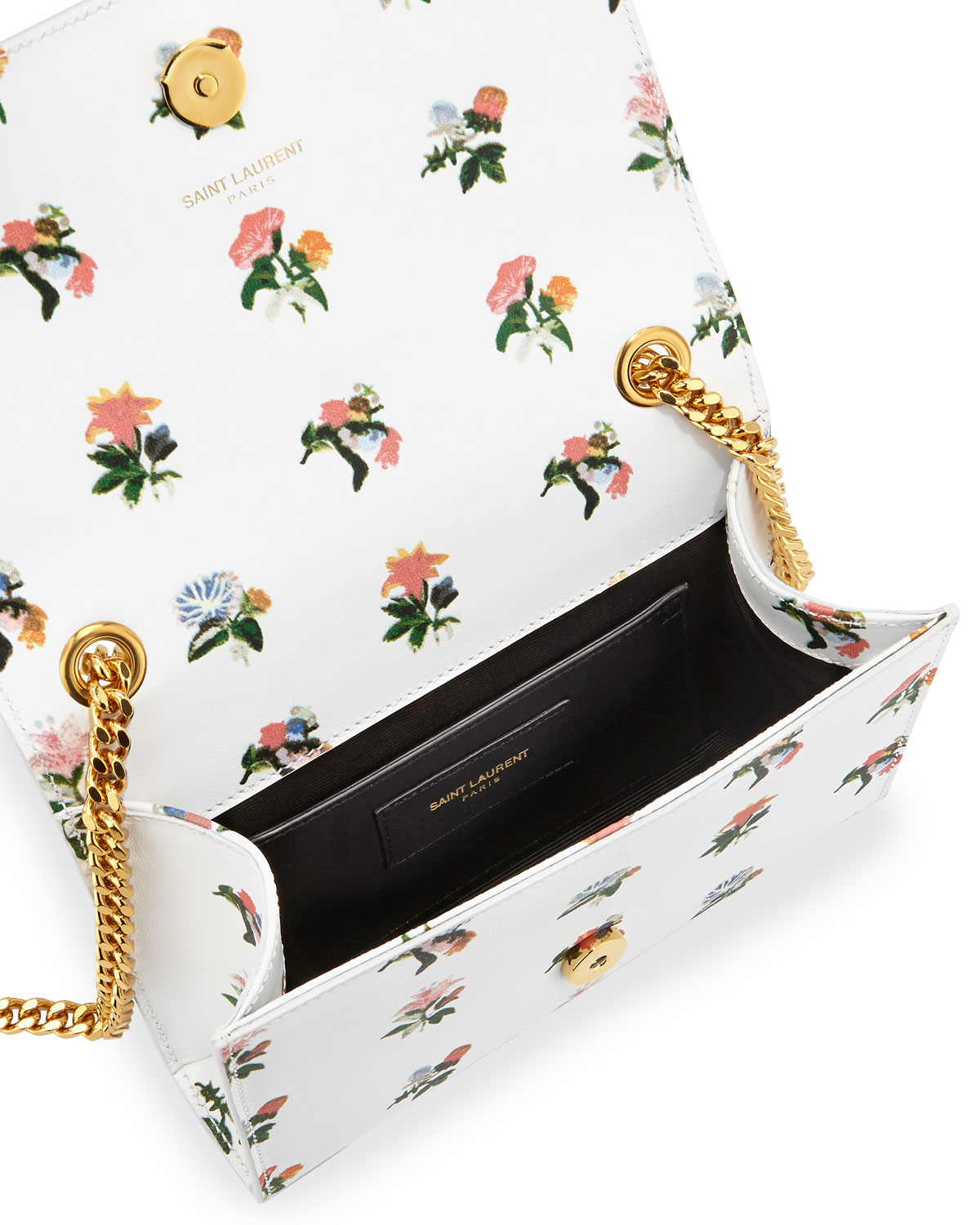 Classic Nano Sac De Jour Bag In Black And Multicolor Prairie Flower Printed Leather