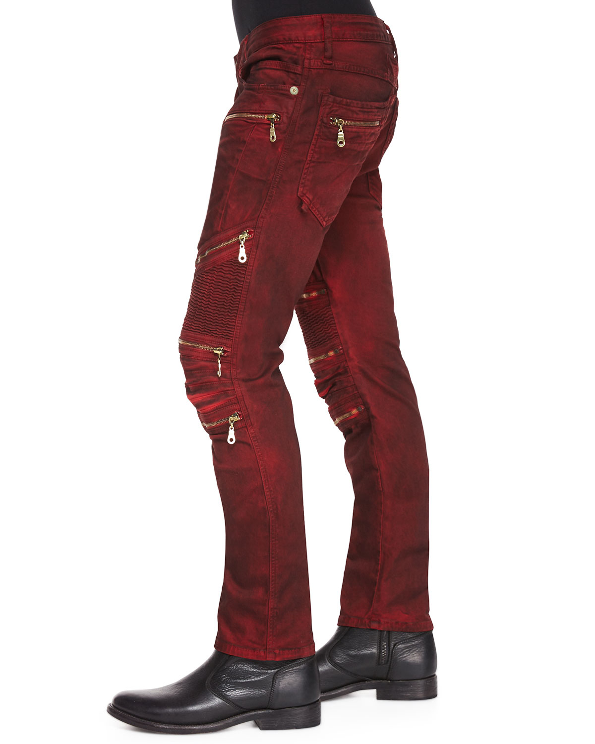 Robin S Jean Dusty Road Coated Moto Denim Jeans In Red For