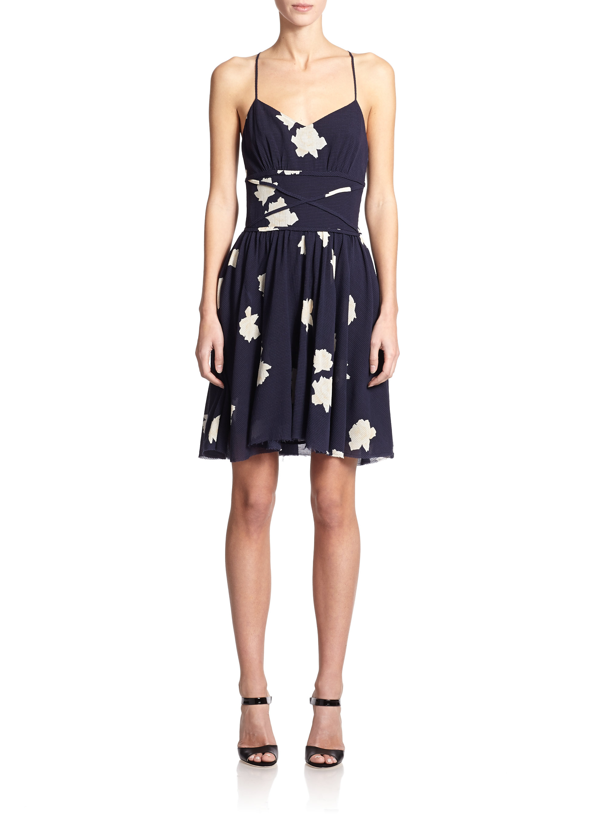 Band of outsiders Printed Stretch Cotton & Silk Slip Dress ...