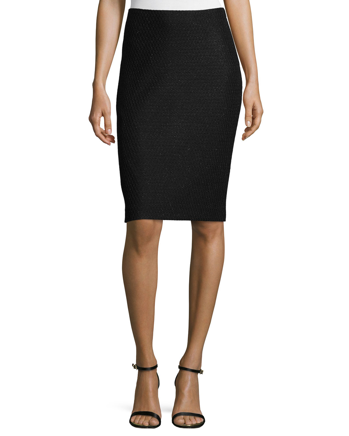 st speckled knit pencil skirt in black save 55 lyst