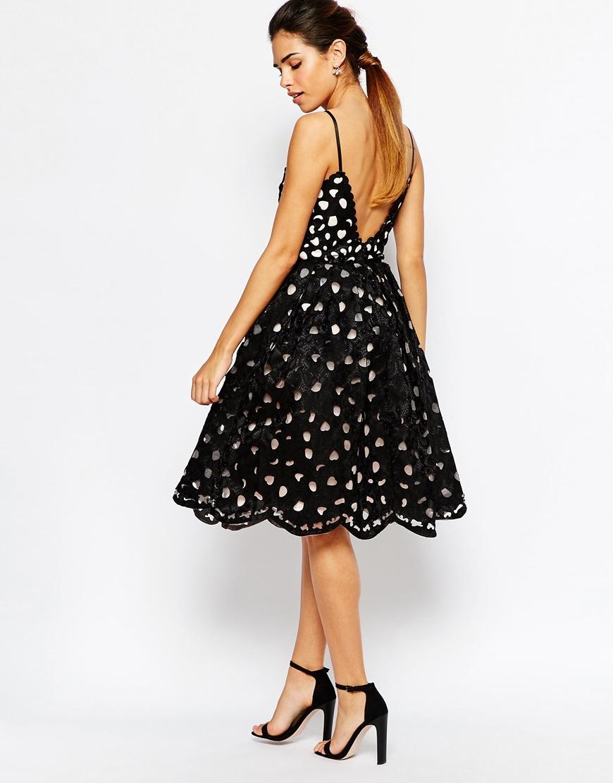 Chi Chi London Full Midi Prom Cutwork Dress In Black Lyst