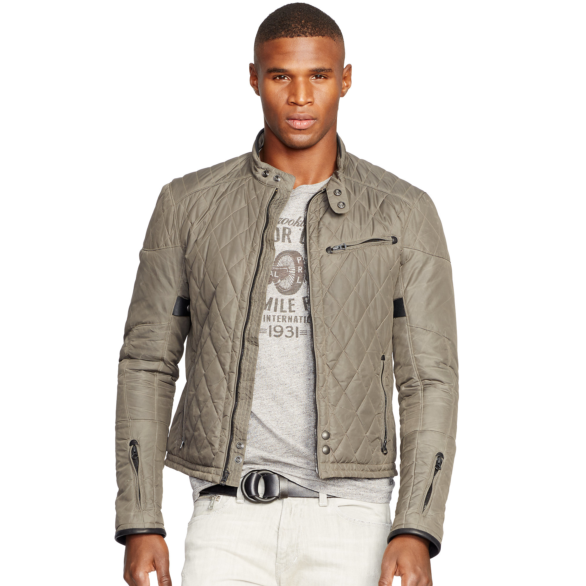 Lyst Polo Ralph Lauren Quilted Biker Jacket In Gray For Men