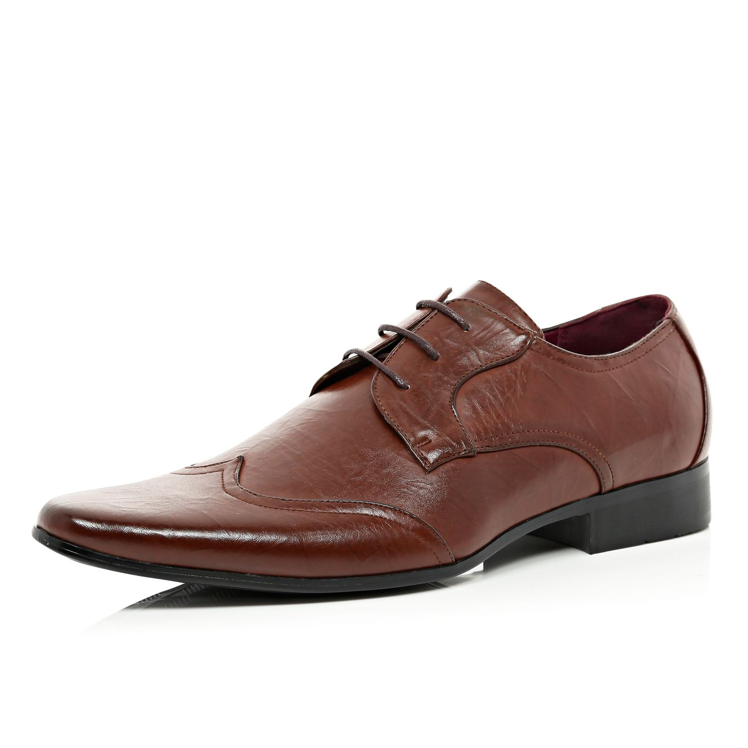 river island brown wingtip formal shoes in brown for