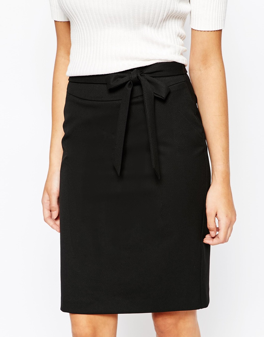 Oasis Tailored Tie Waist Pencil Skirt in Black | Lyst