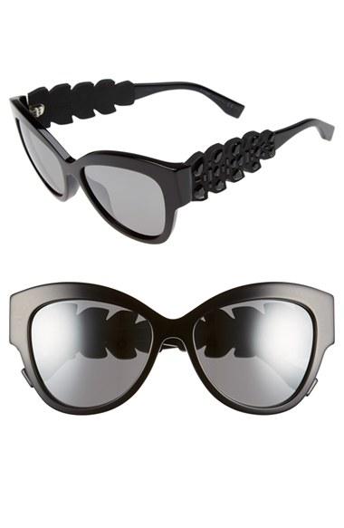 275664781911 Lyst - Fendi 55mm Crystal Encrusted Sunglasses in Black