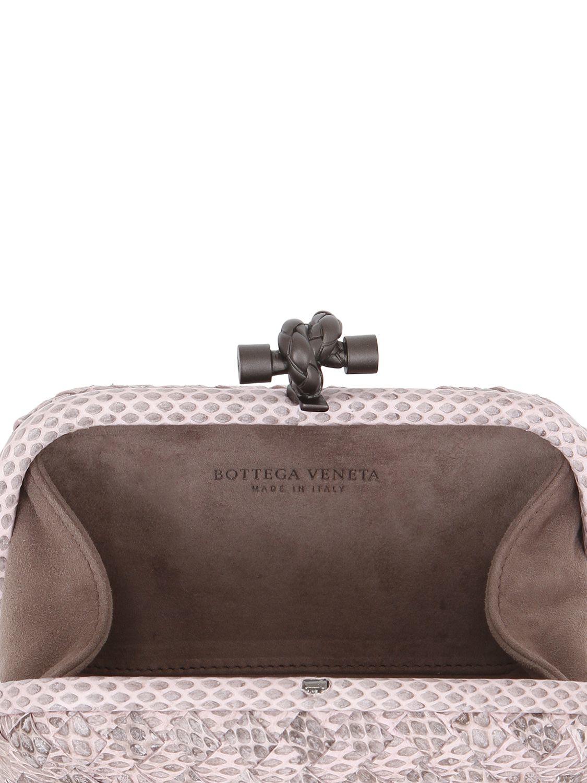 Lyst - Bottega Veneta Knot Intrecciato Ayers   Leather Clutch in Pink 30cd677aab13c