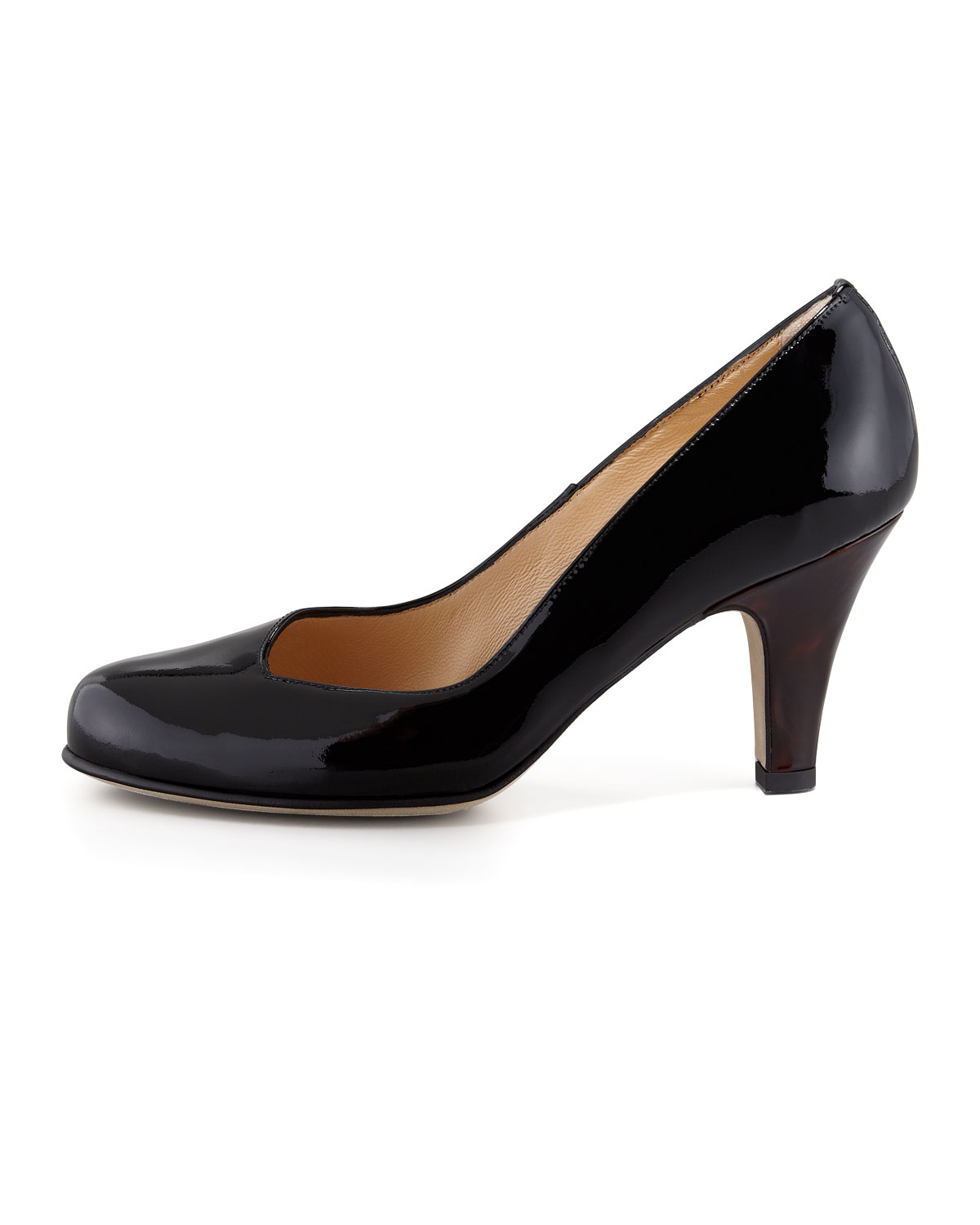handmade black patent leather low heels pumps shoes 3 gallery