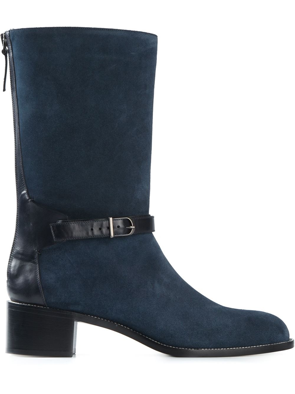 sartore chunky heel leather boots in blue lyst