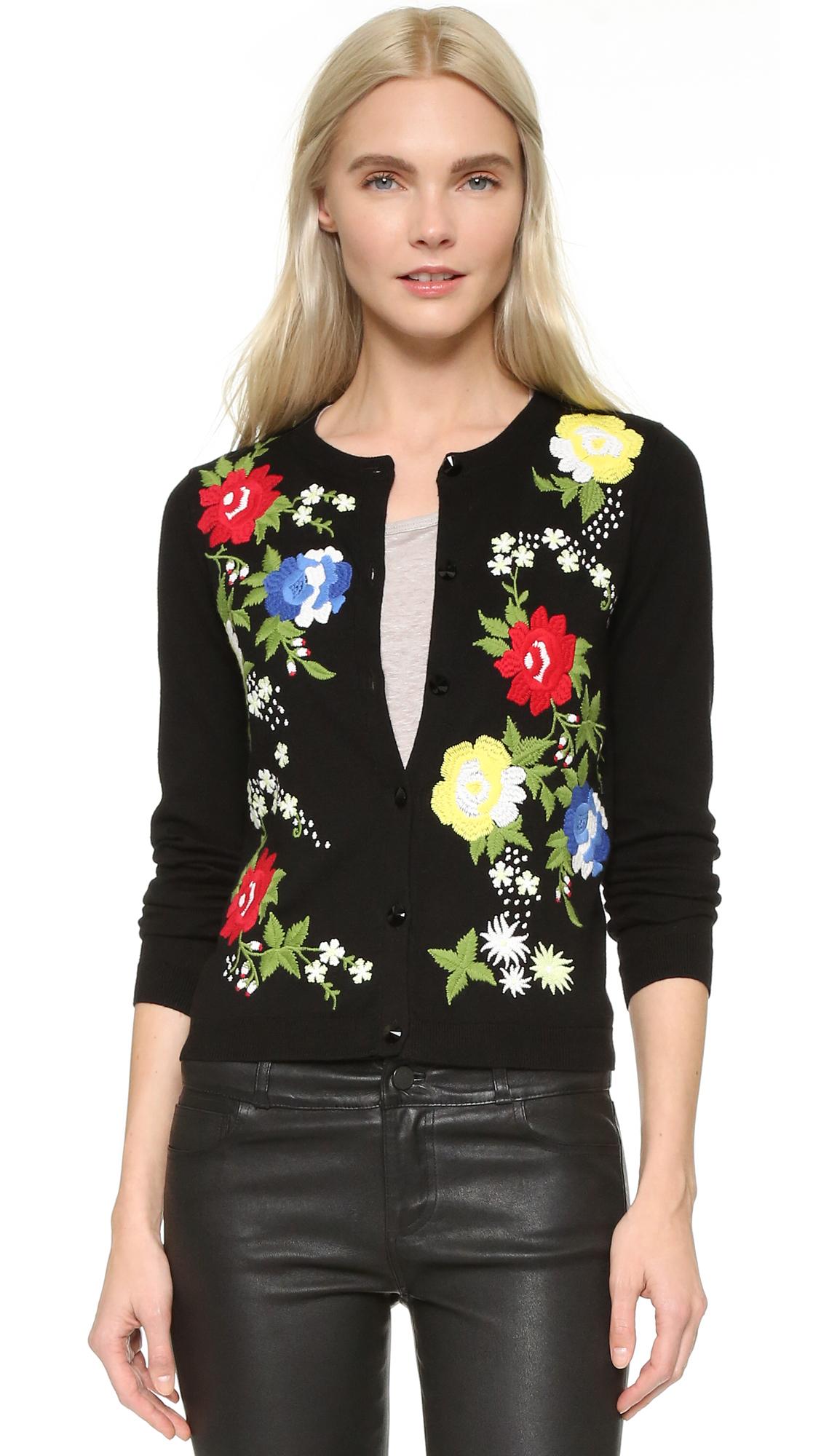 Alice Olivia Elvira Floral Embroidered Cardigan Lyst