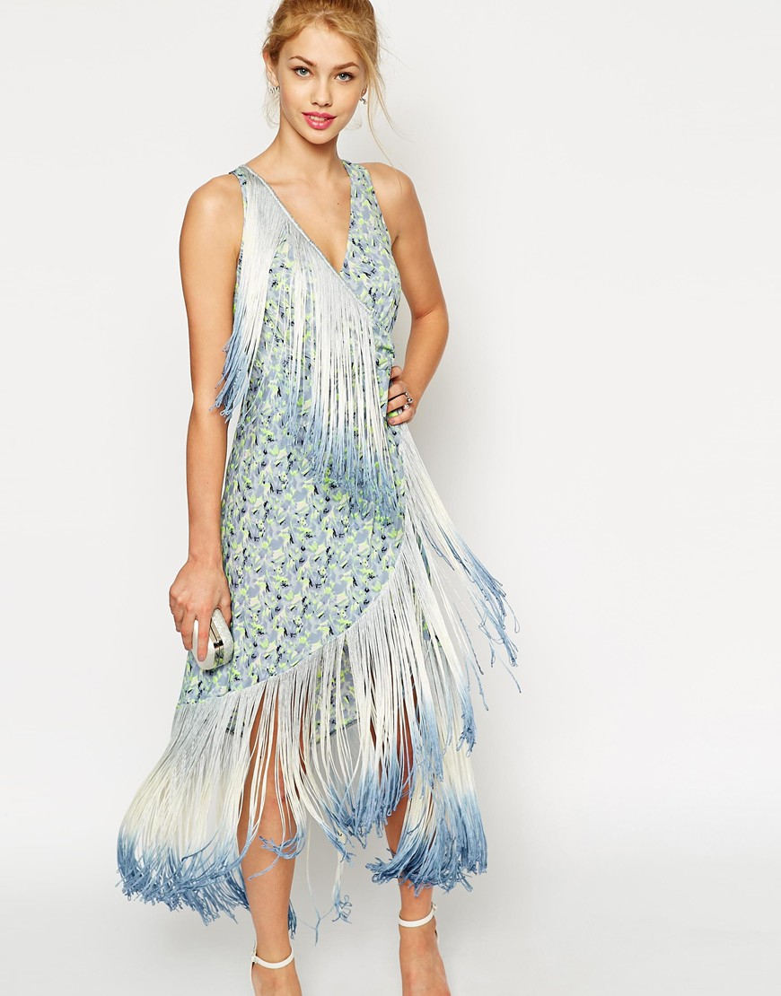 Lyst Asos Fringe Midi Print Dress In Blue