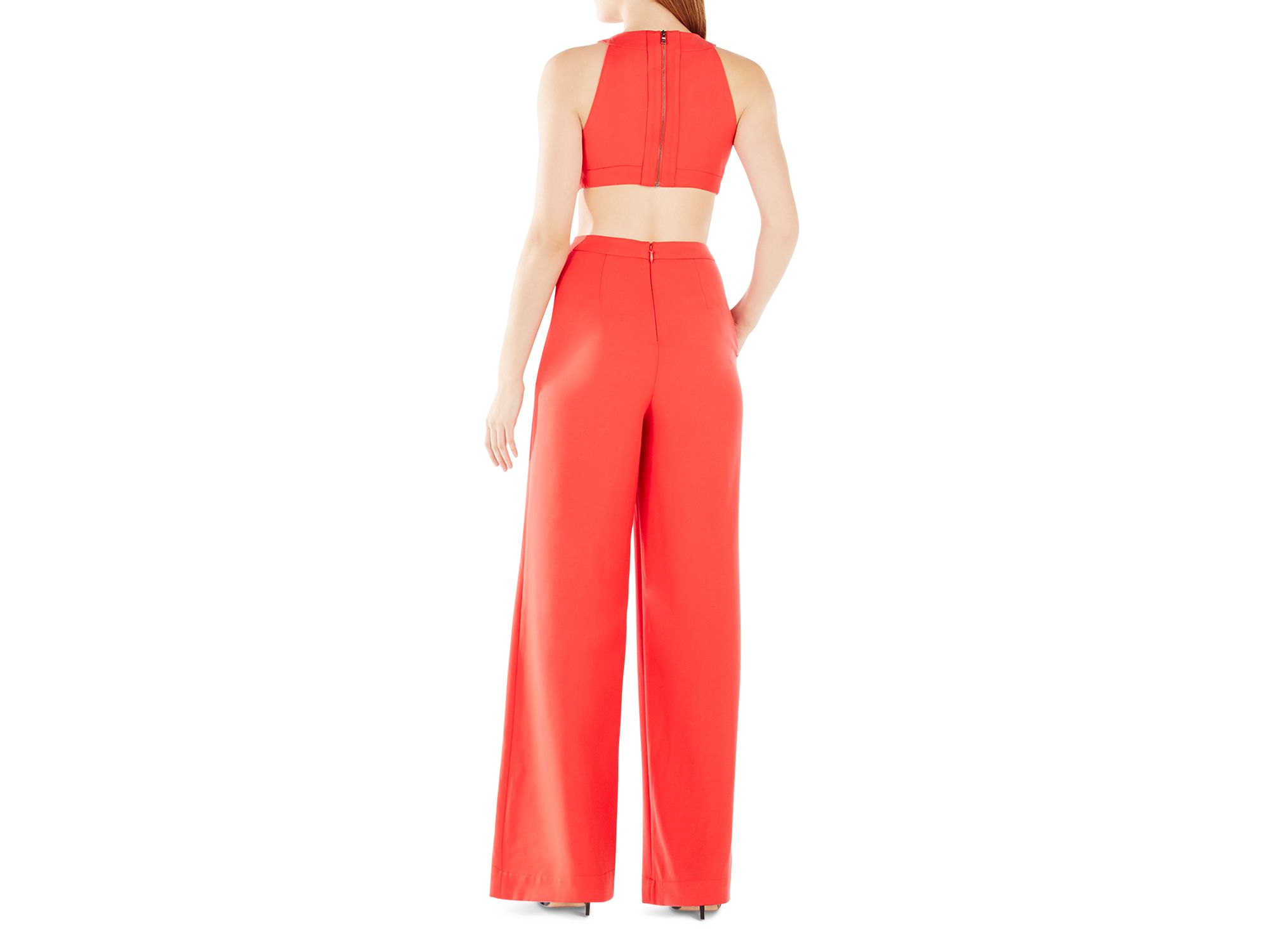 9f070e1f671c Lyst - BCBGMAXAZRIA Emjay Cutout Jumpsuit in Red