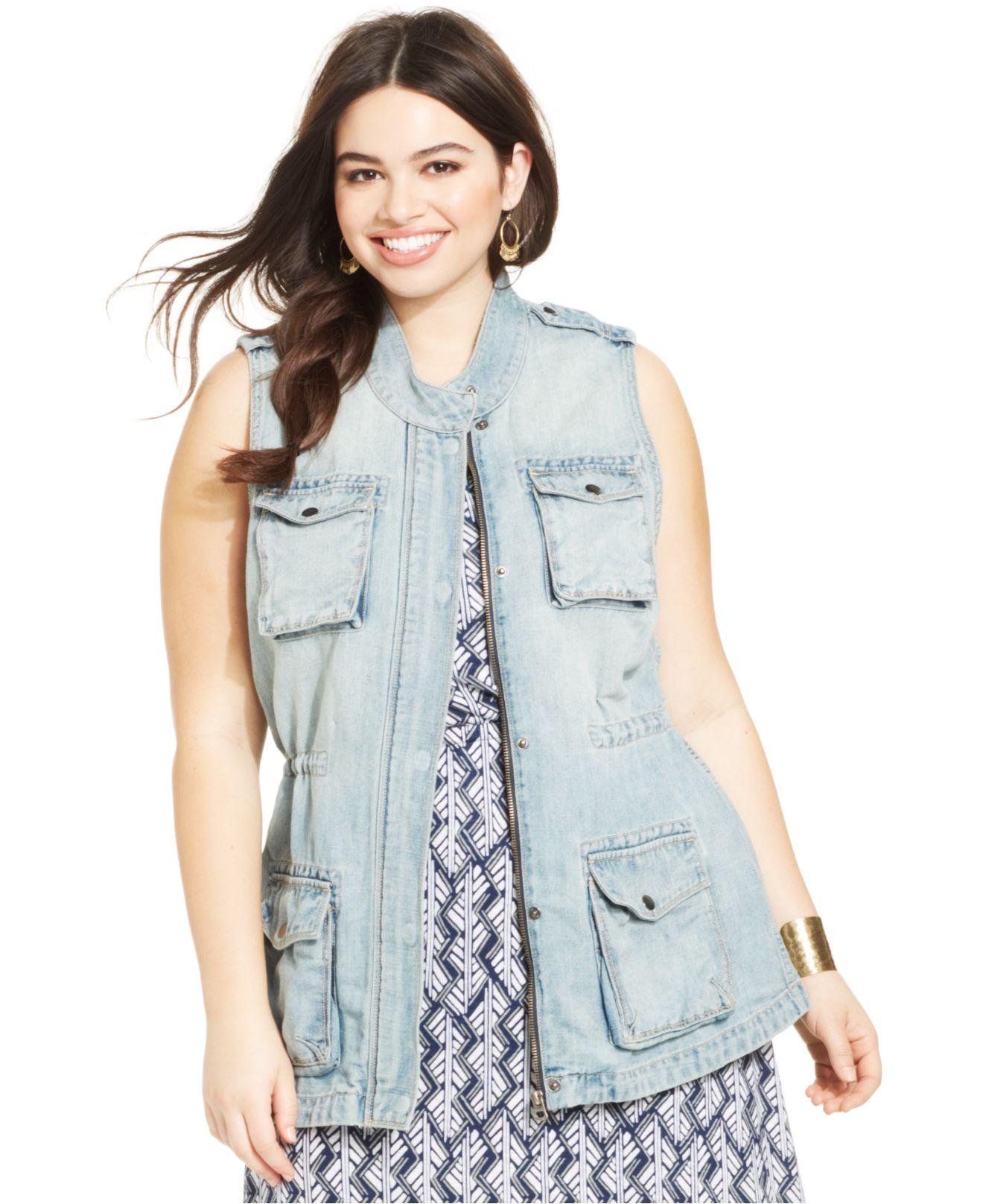f4cb46fad95f1 Lyst - Lucky Brand Lucky Brand Plus Size Denim Utility Vest