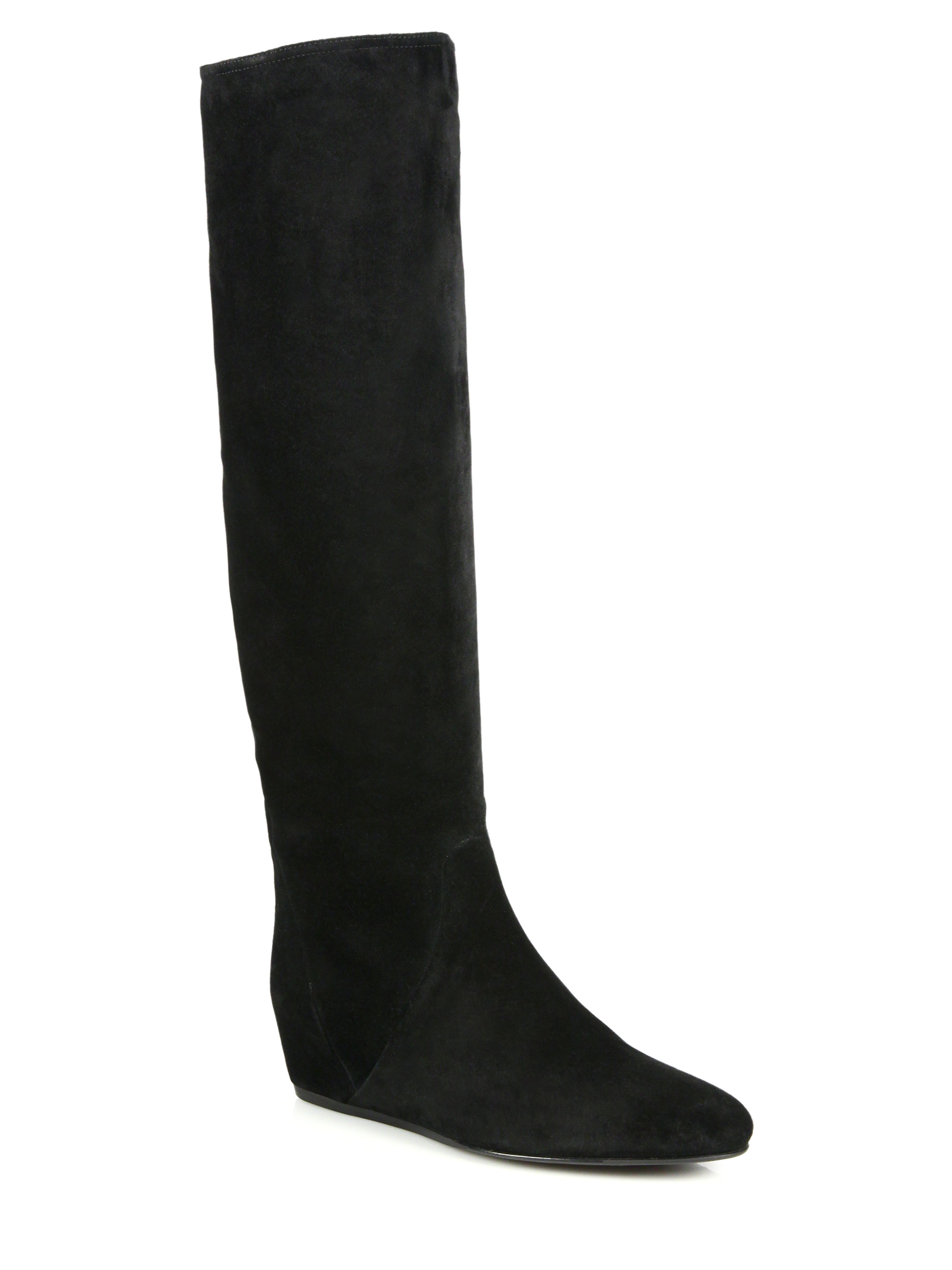 lanvin suede knee high wedge boots in black lyst