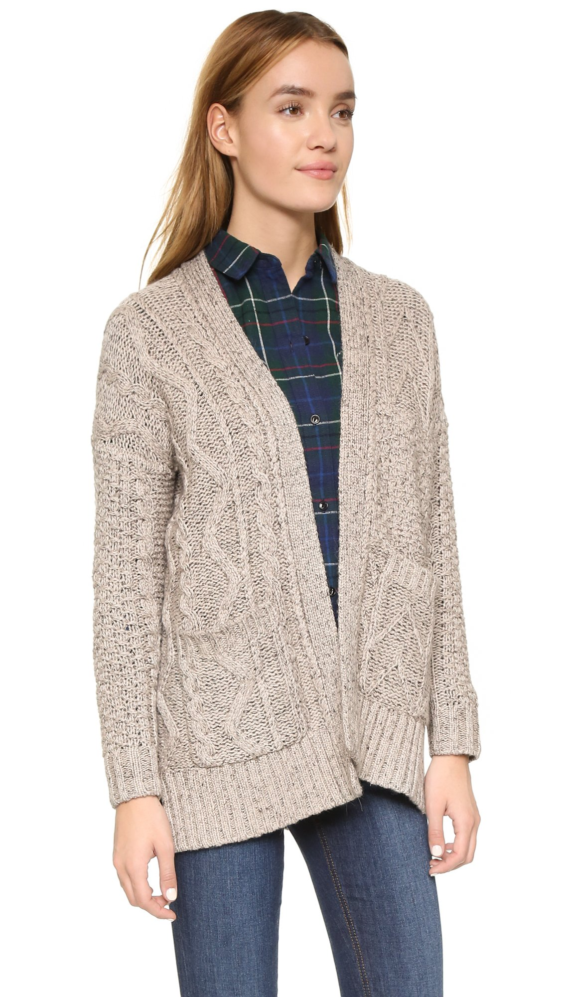 Madewell Marled Patchwork Cable Cardigan in Gray | Lyst