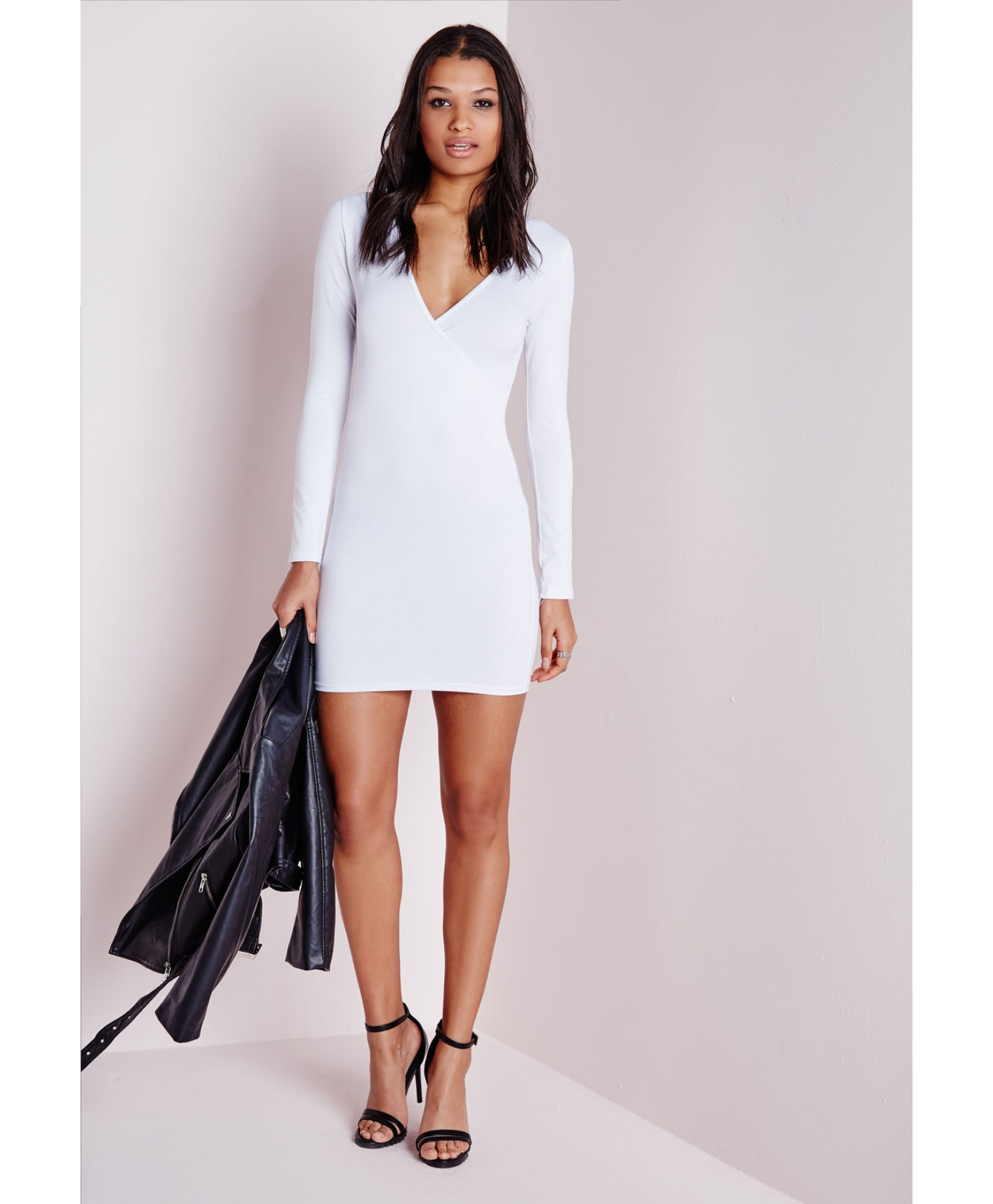 55b212bacc27 Lyst - Missguided Long Sleeve Wrap Bodycon Dress White in White