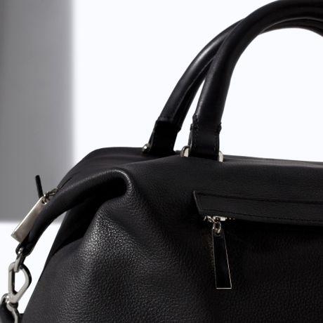 Black Zara Shopper Bag With Pocket Pocket in Black Zara