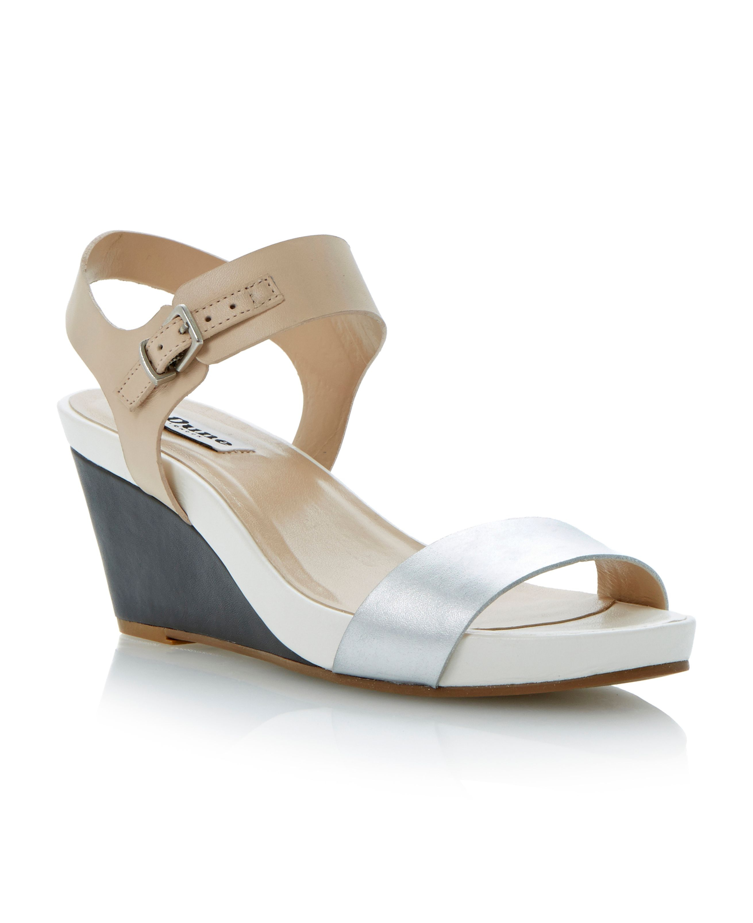 dune getup buckle leather wedge sandals in silver
