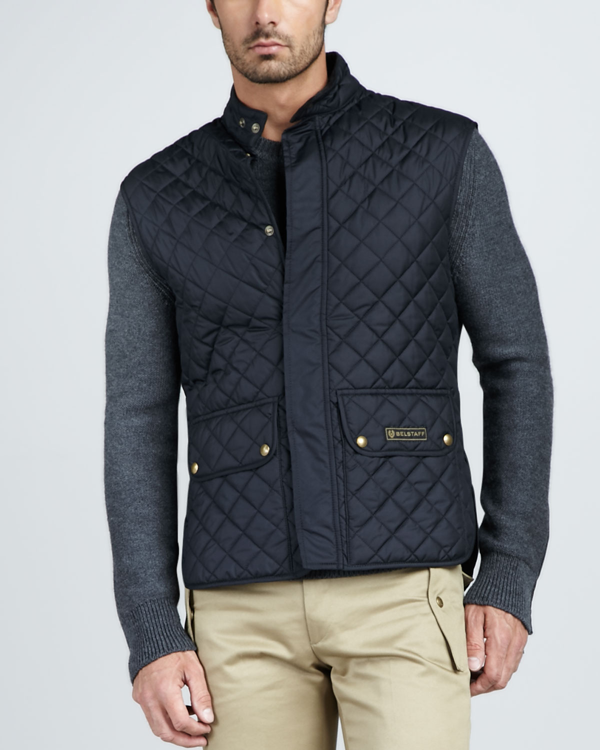Belstaff Quilted Two-Pocket Vest in Blue for Men | Lyst : quilted vests for men - Adamdwight.com