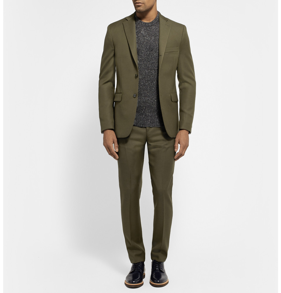 Acne studios Dark Olive Drifter Slim-Fit Wool-Twill Suit Jacket in ...