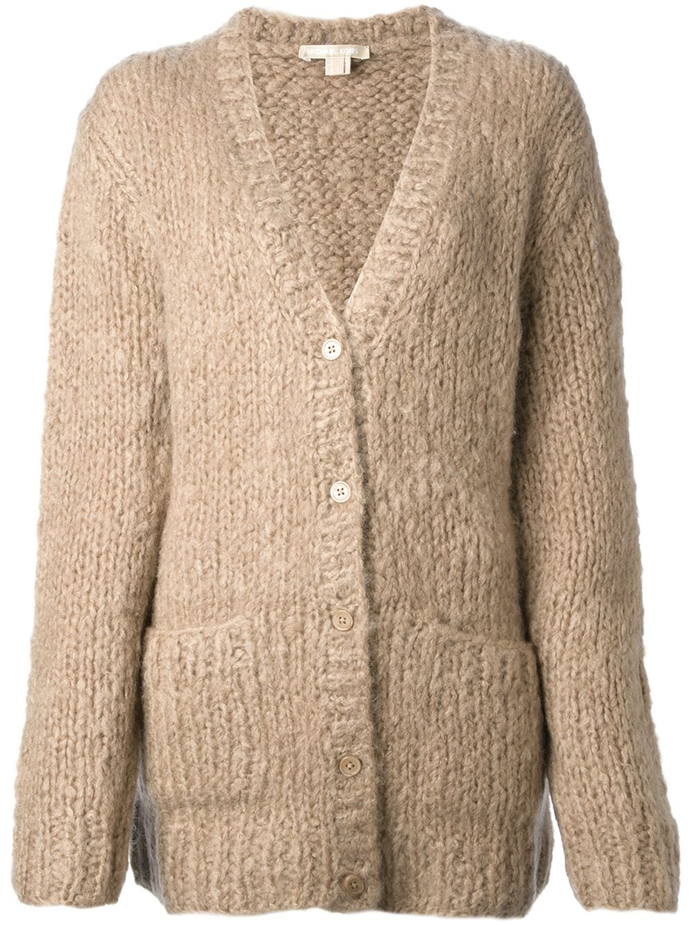 Michael kors Chunky Knit Cardigan in Natural | Lyst