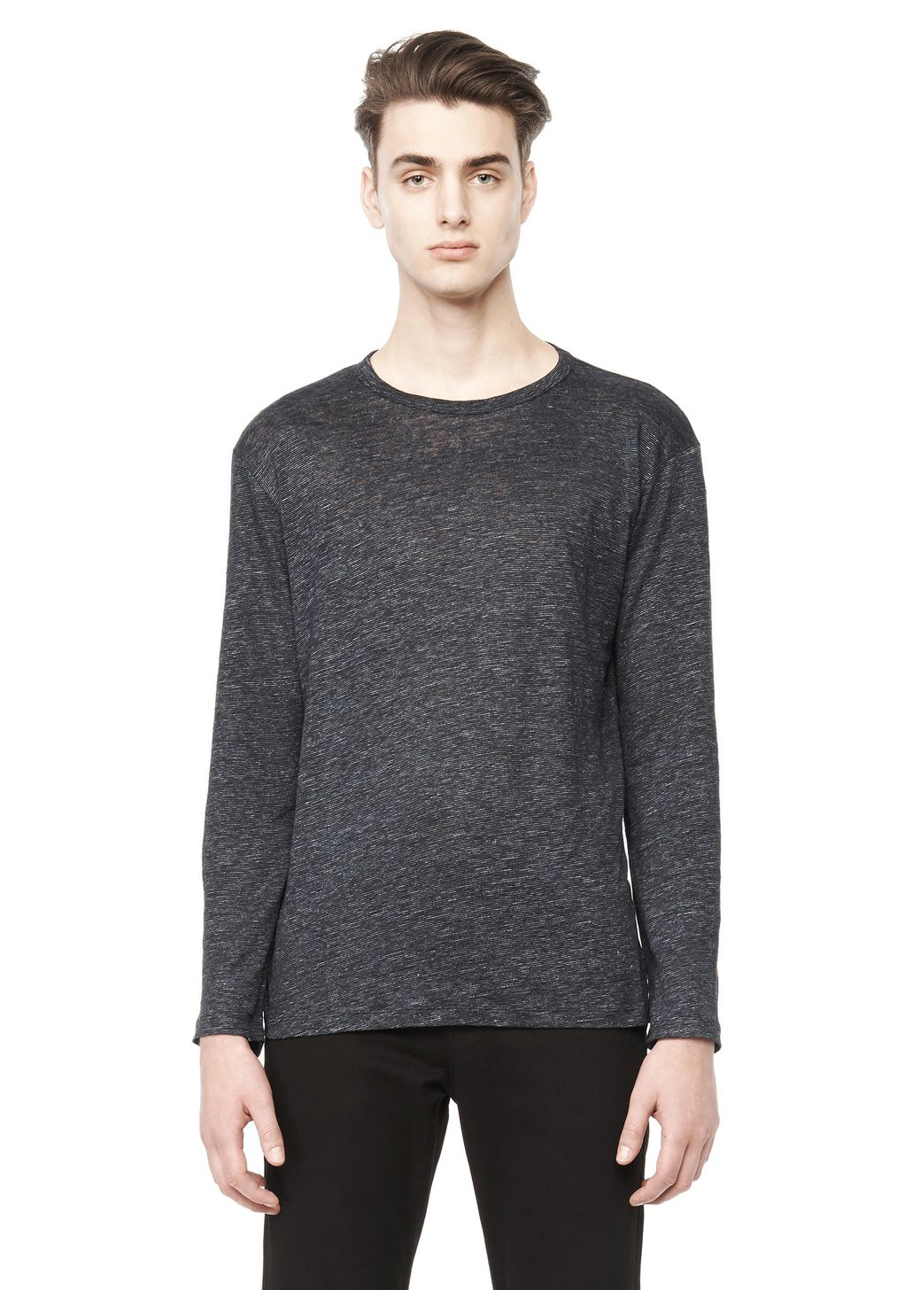 alexander wang long sleeve linen shirt in gray for men lyst
