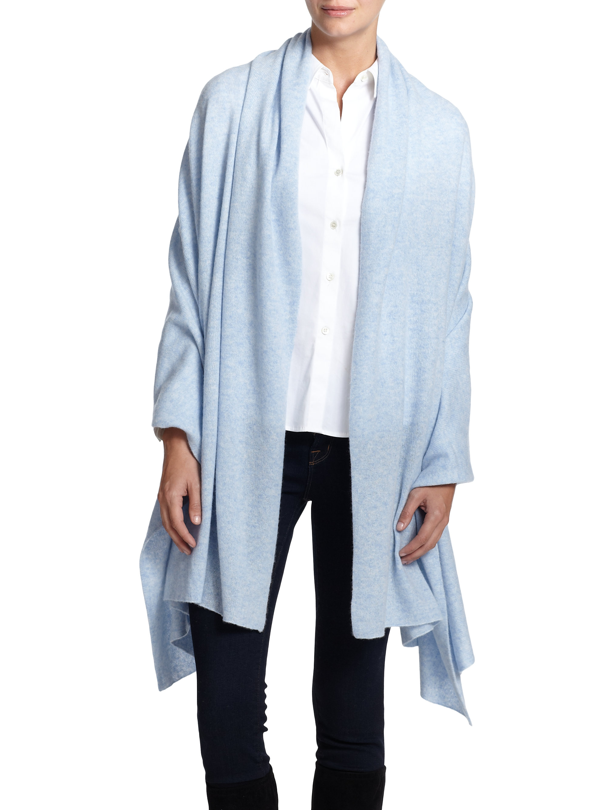 Lyst - White + Warren Cashmere Travel Wrap in Blue