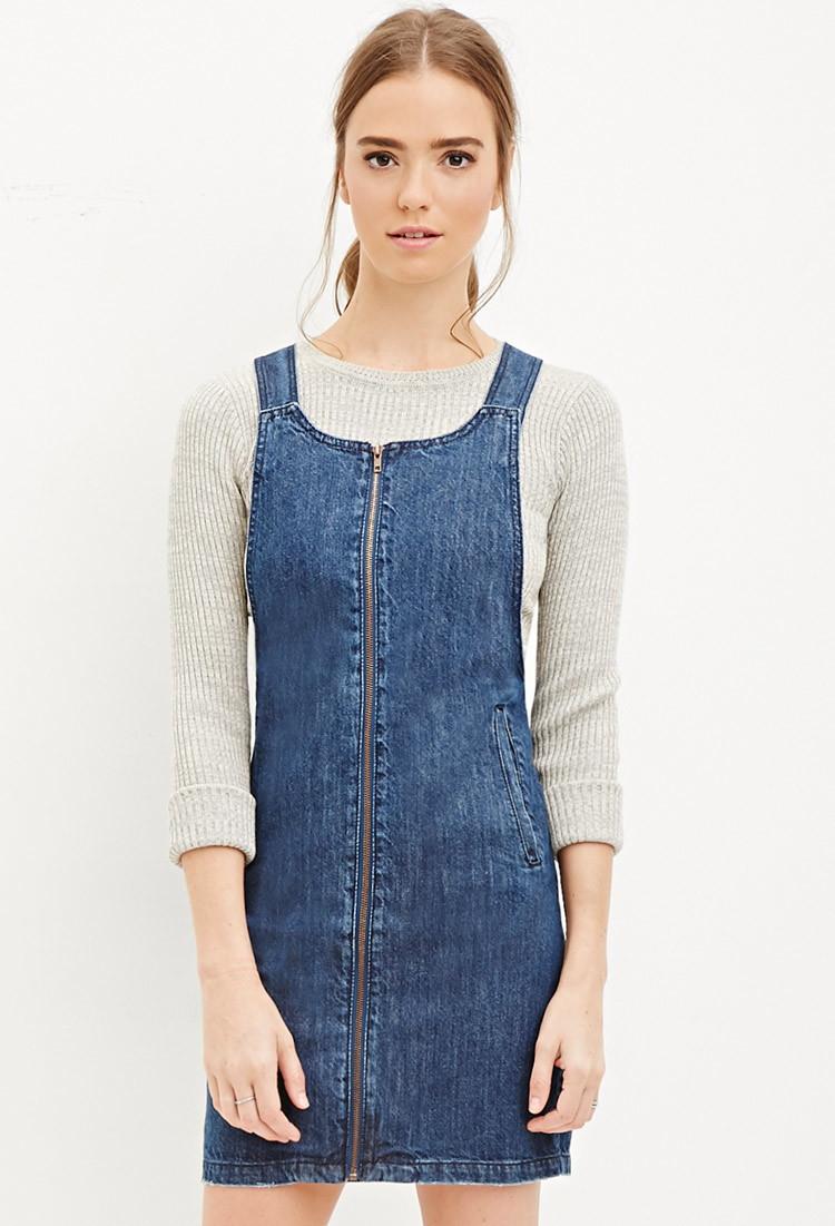 forever 21 zippered denim overall dress in blue lyst