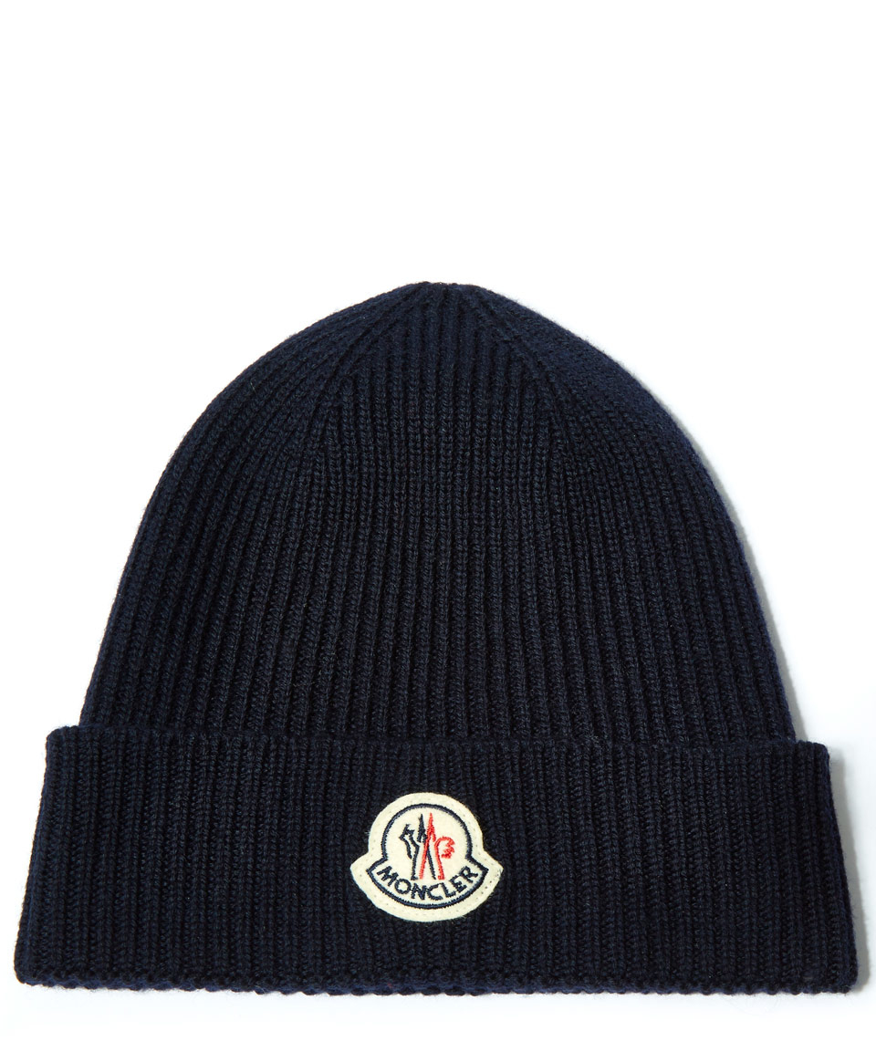 5f9c8c83ce8ac Moncler Navy Ribbed-knit Wool Beanie Hat in Blue for Men - Lyst