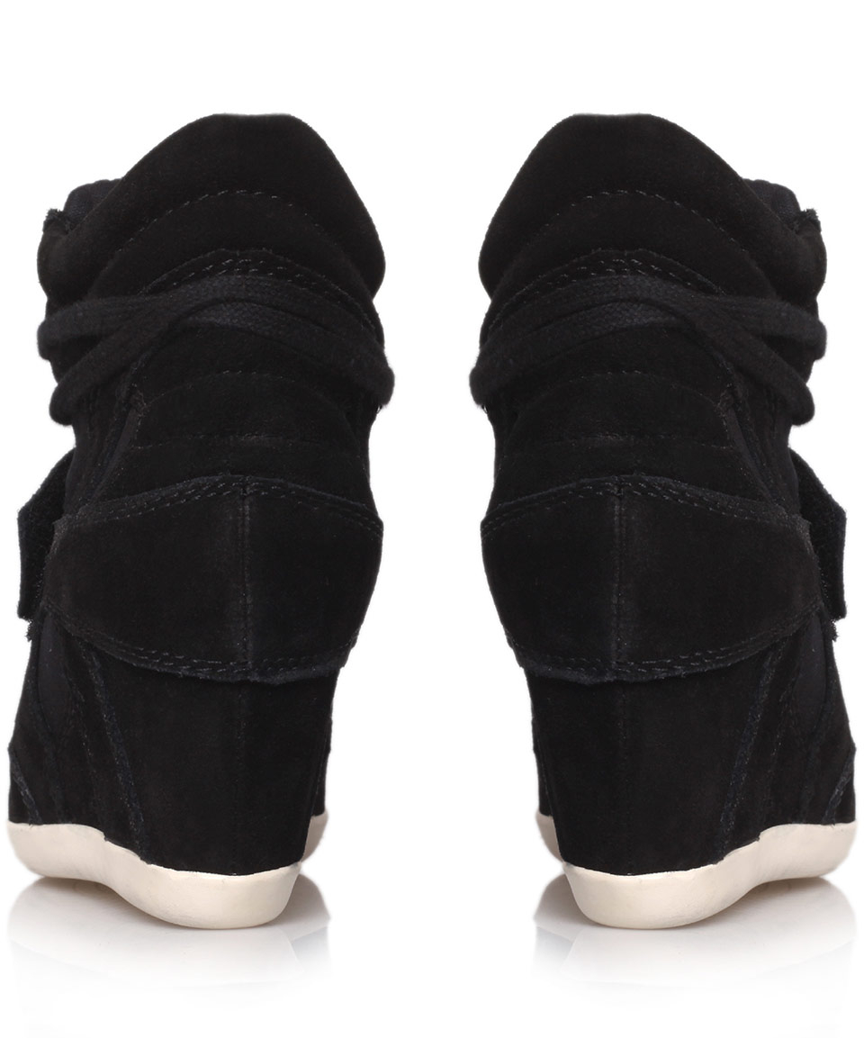 c6ec7ea30772 Lyst - Ash Black Bowie Suede And Canvas High-Top Wedge Trainers in Black