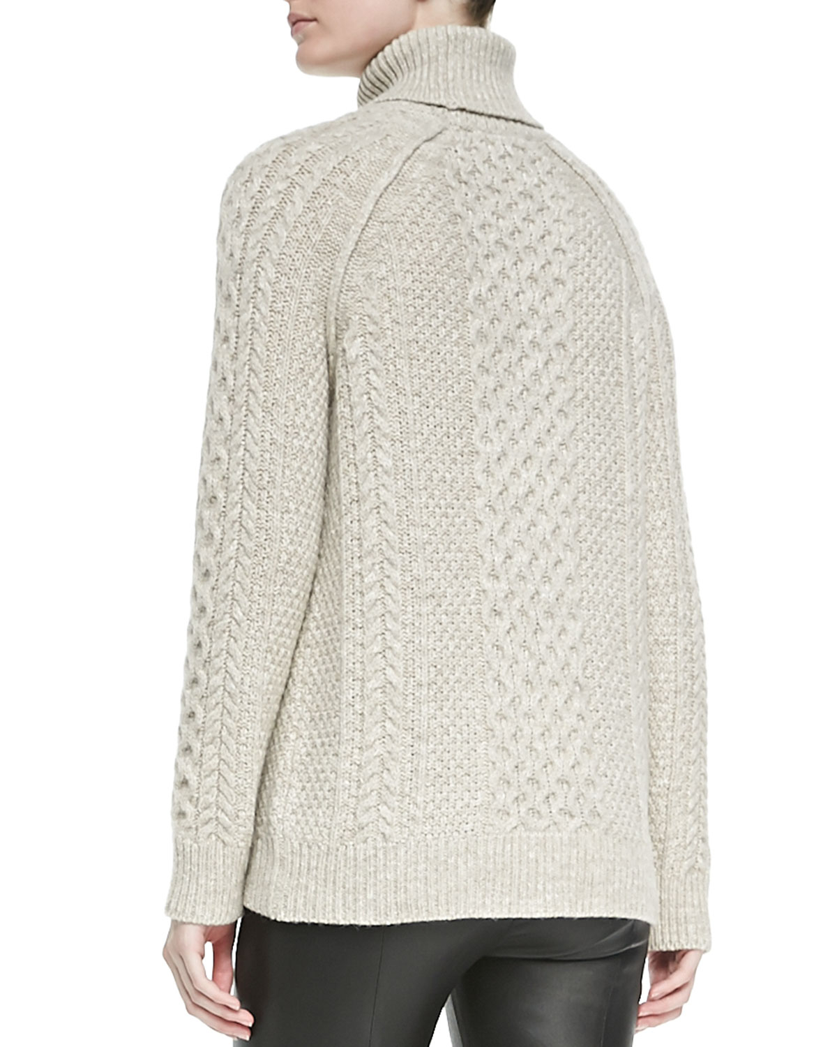 Vince Cable Knit Turtleneck Sweater in Natural | Lyst
