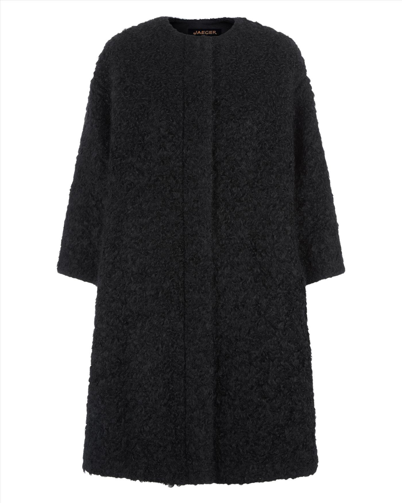 Jaeger Wool Mohair Cocoon Coat in Black