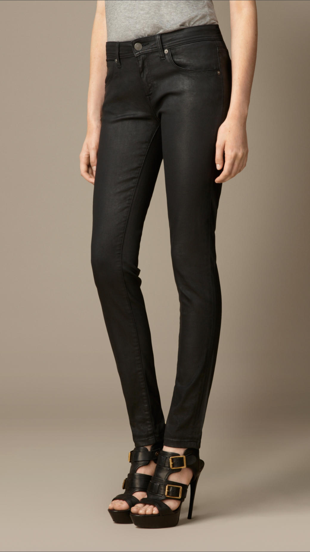 Lyst - Burberry Skinny Fit Low-Rise Wax Coated Jeans In Black-7146