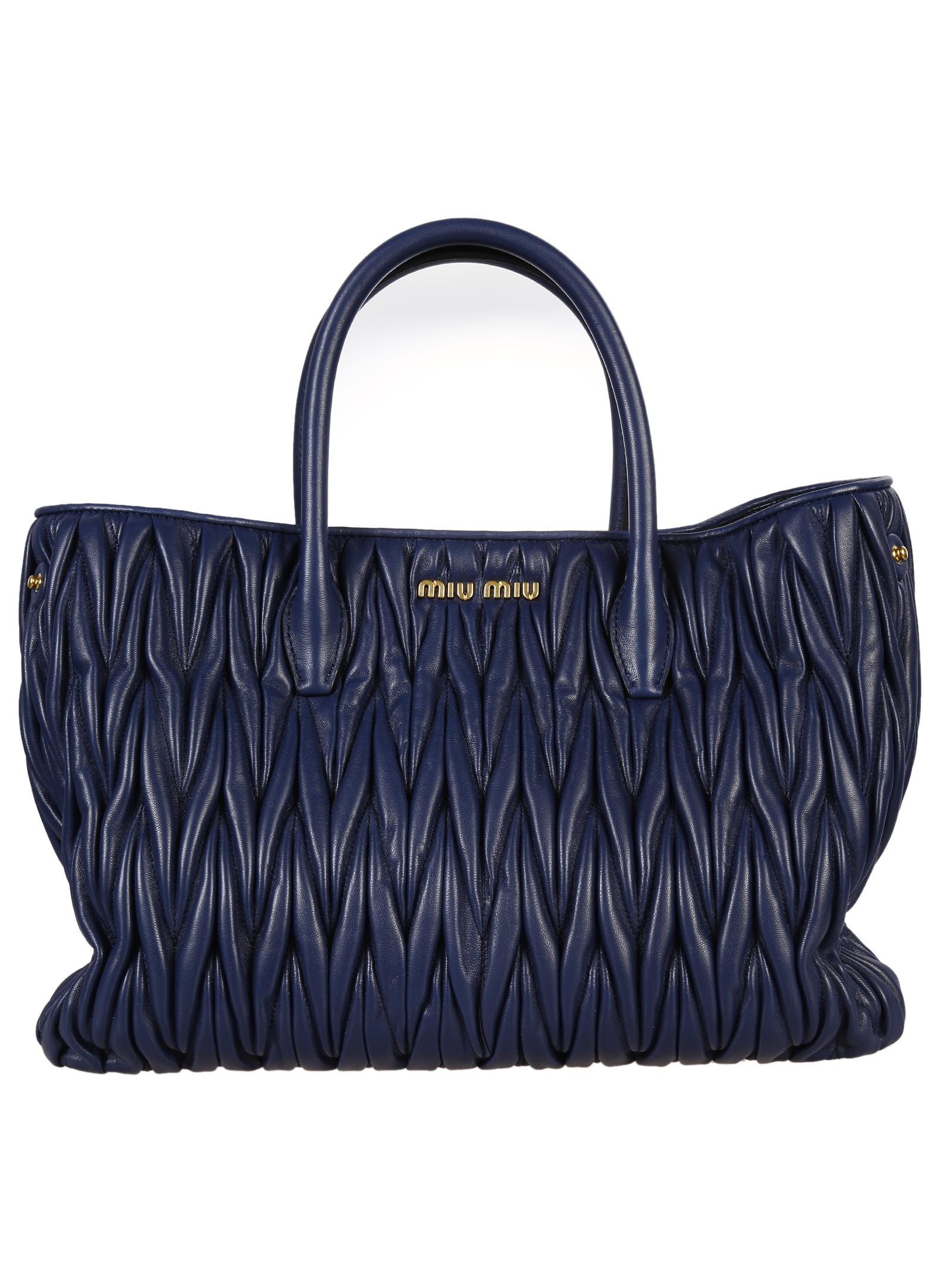 miu miu matelass big shopping bag in blue navy lyst. Black Bedroom Furniture Sets. Home Design Ideas