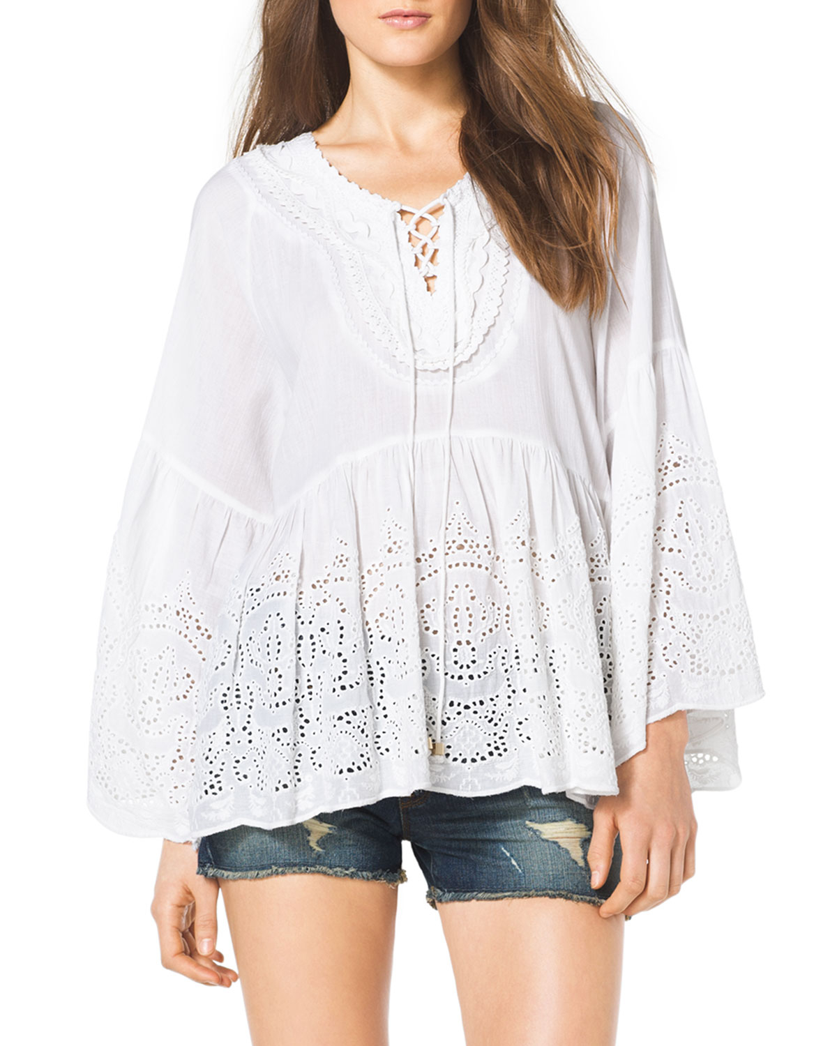 c53e60fbe48486 MICHAEL Michael Kors Laceupfront Eyelet Top in White - Lyst