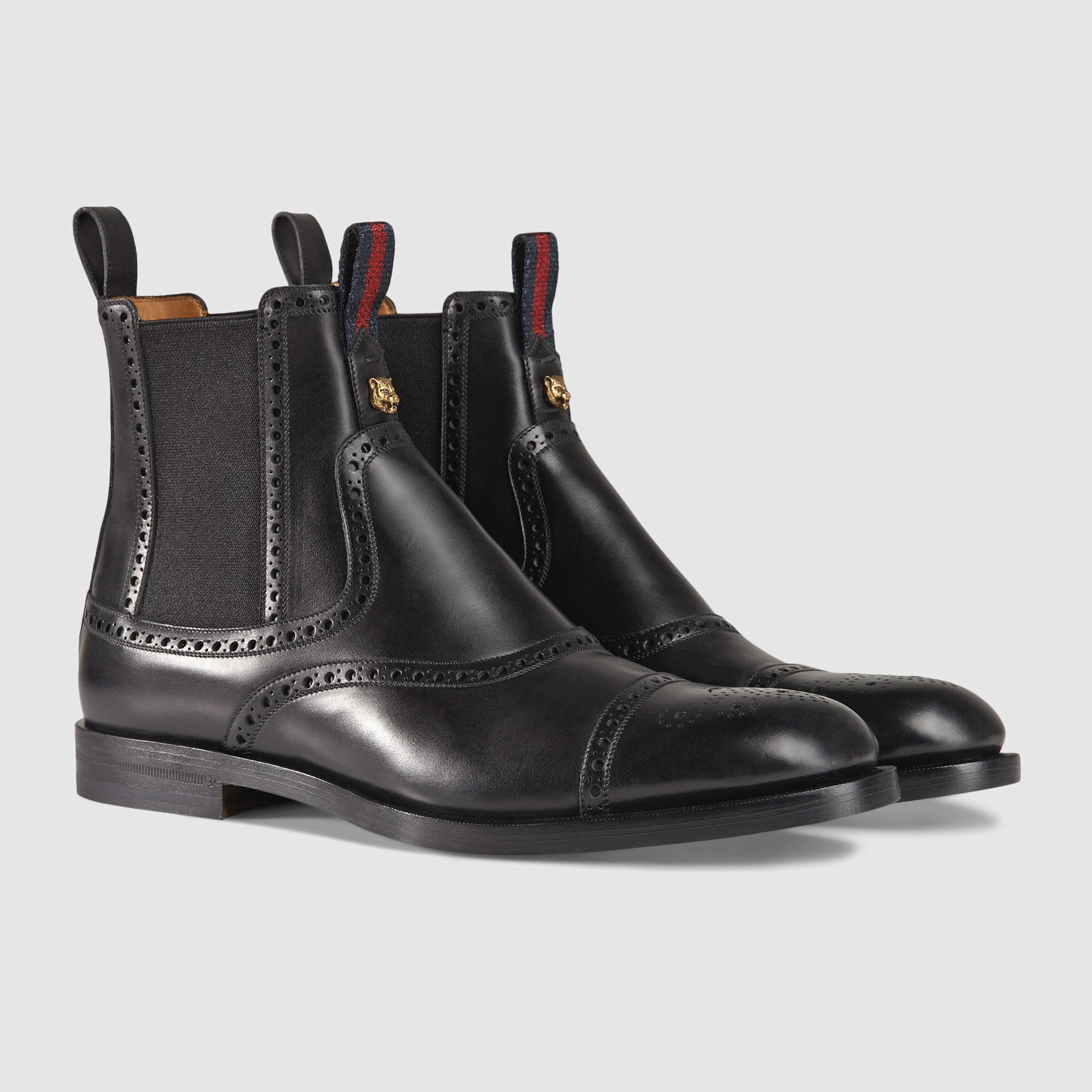 gucci leather brogue boot in black for men lyst