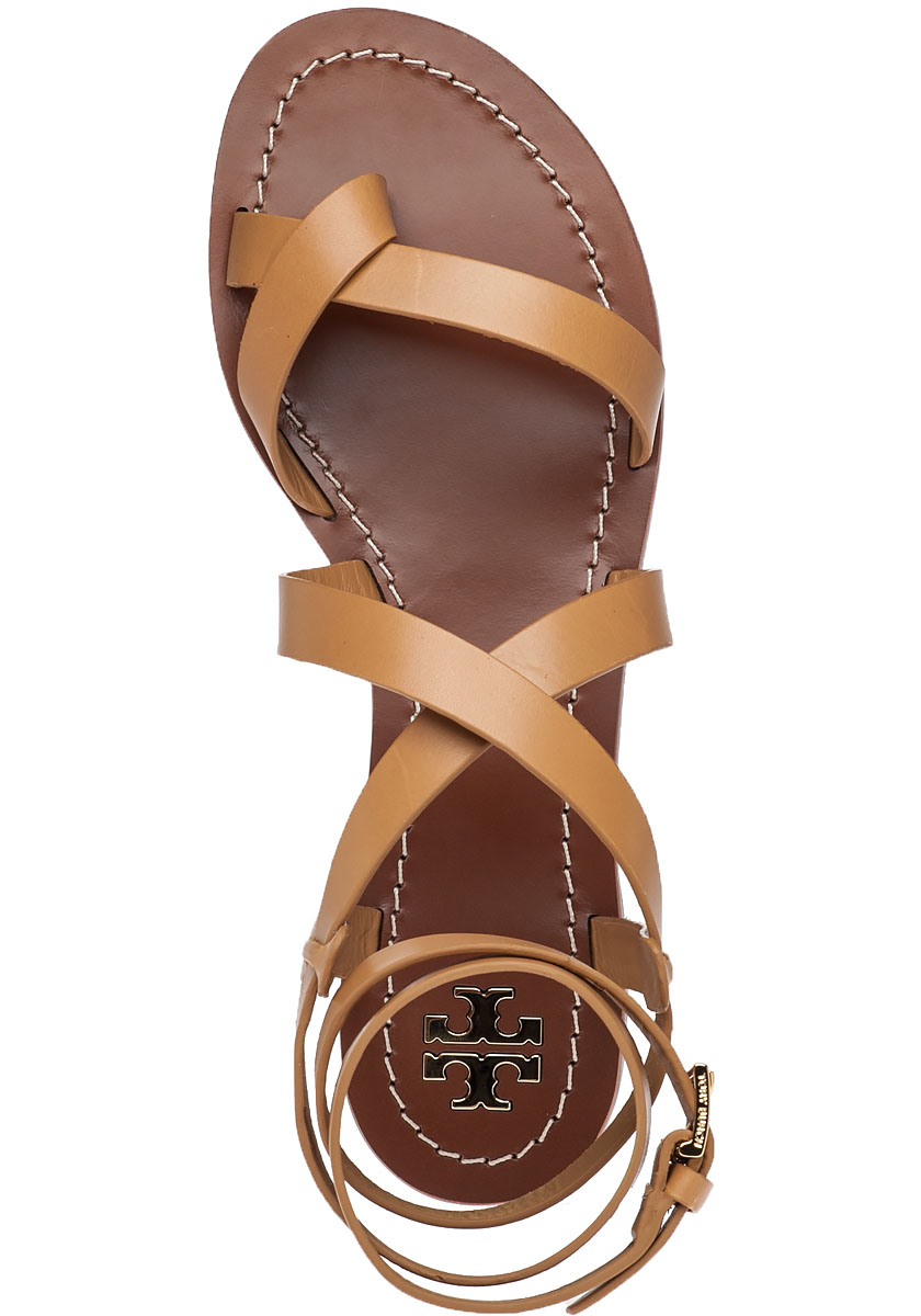 2200f594ff2d Tory Burch Patos Blond Leather Sandals in Brown - Lyst