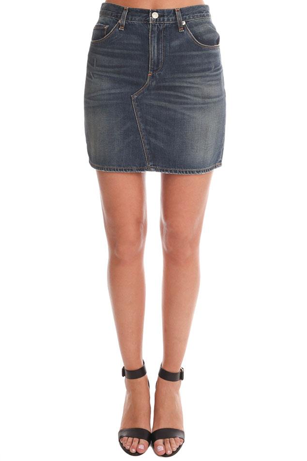 rag bone jean distressed mini skirt in blue lyst