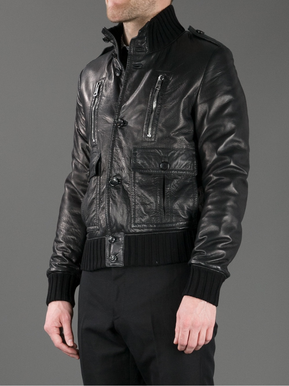 lyst gucci leather jacket in black for men