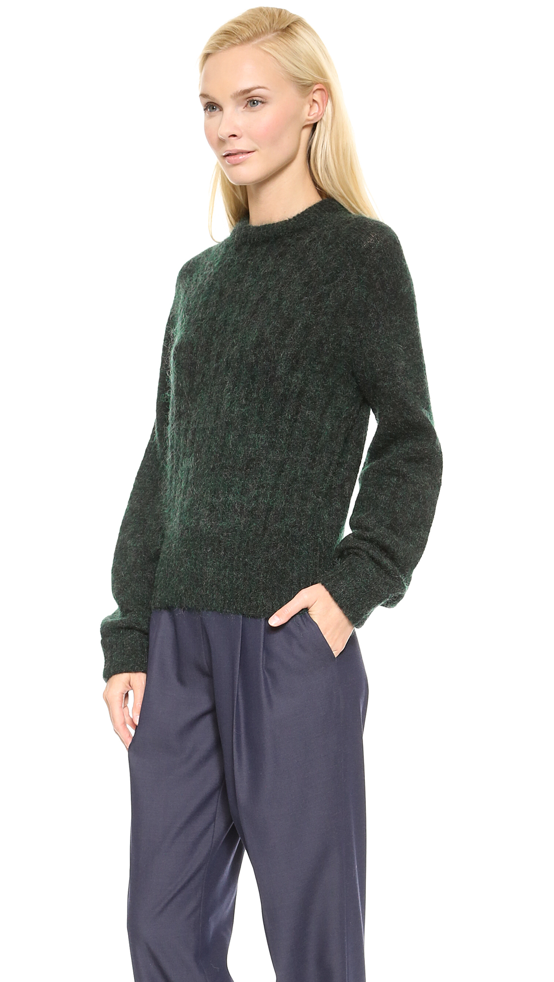 lyst acne studios dania mohair sweater white in green. Black Bedroom Furniture Sets. Home Design Ideas