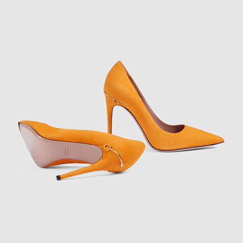 Gucci Adina Suede Pump in Yellow | Lyst