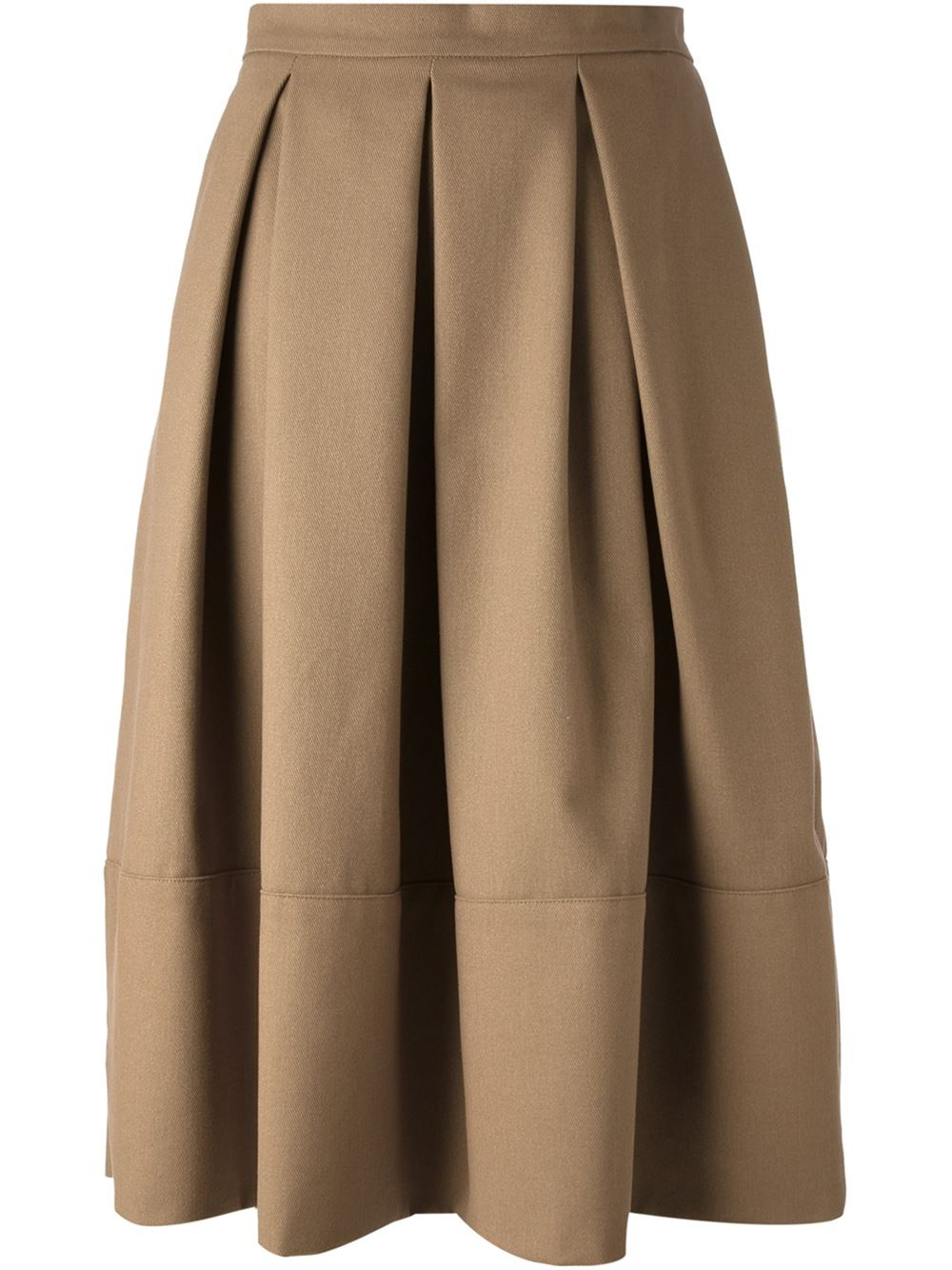 Societe anonyme Box Pleat Midi Skirt in Natural | Lyst