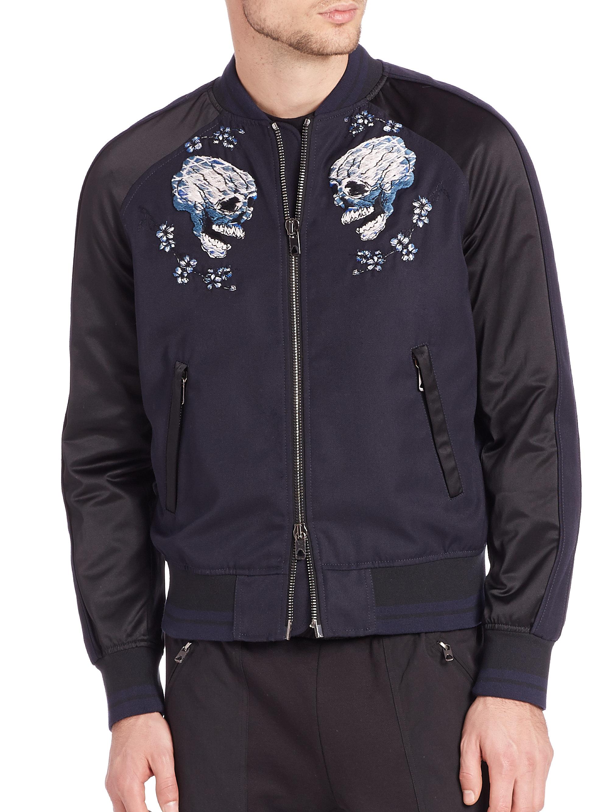 Lyst diesel black gold embroidered skull zip jacket in