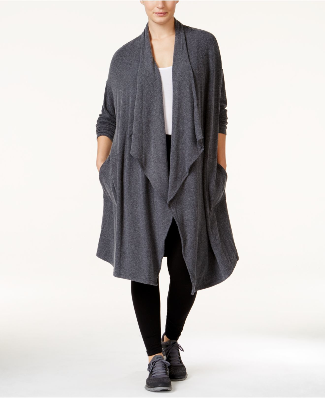 Calvin klein Performance Plus Size Long Draped Cardigan in Gray | Lyst