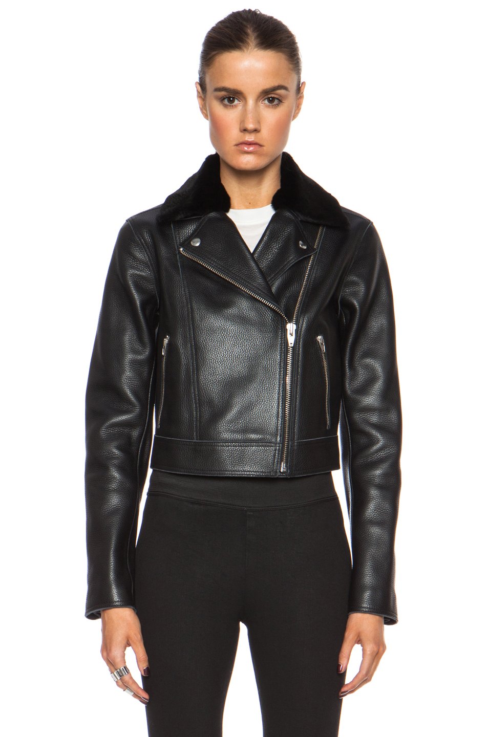 Lyst T By Alexander Wang Motorcycle Leather Jacket With