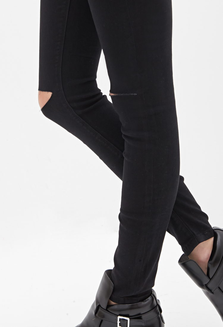 Forever 21 Ripped Skinny Jeans in Black | Lyst