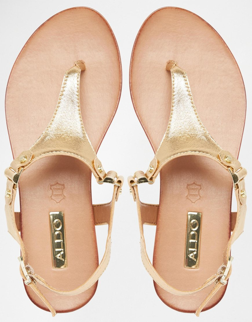 0efbe58d47e ALDO Ashley Gold Ankle Fastener Thong Sandals - Gold in Metallic - Lyst