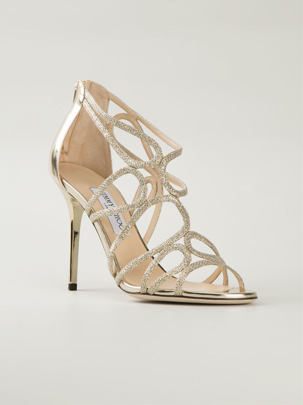 Jimmy Choo Layla Sandals In Gold Metallic Lyst