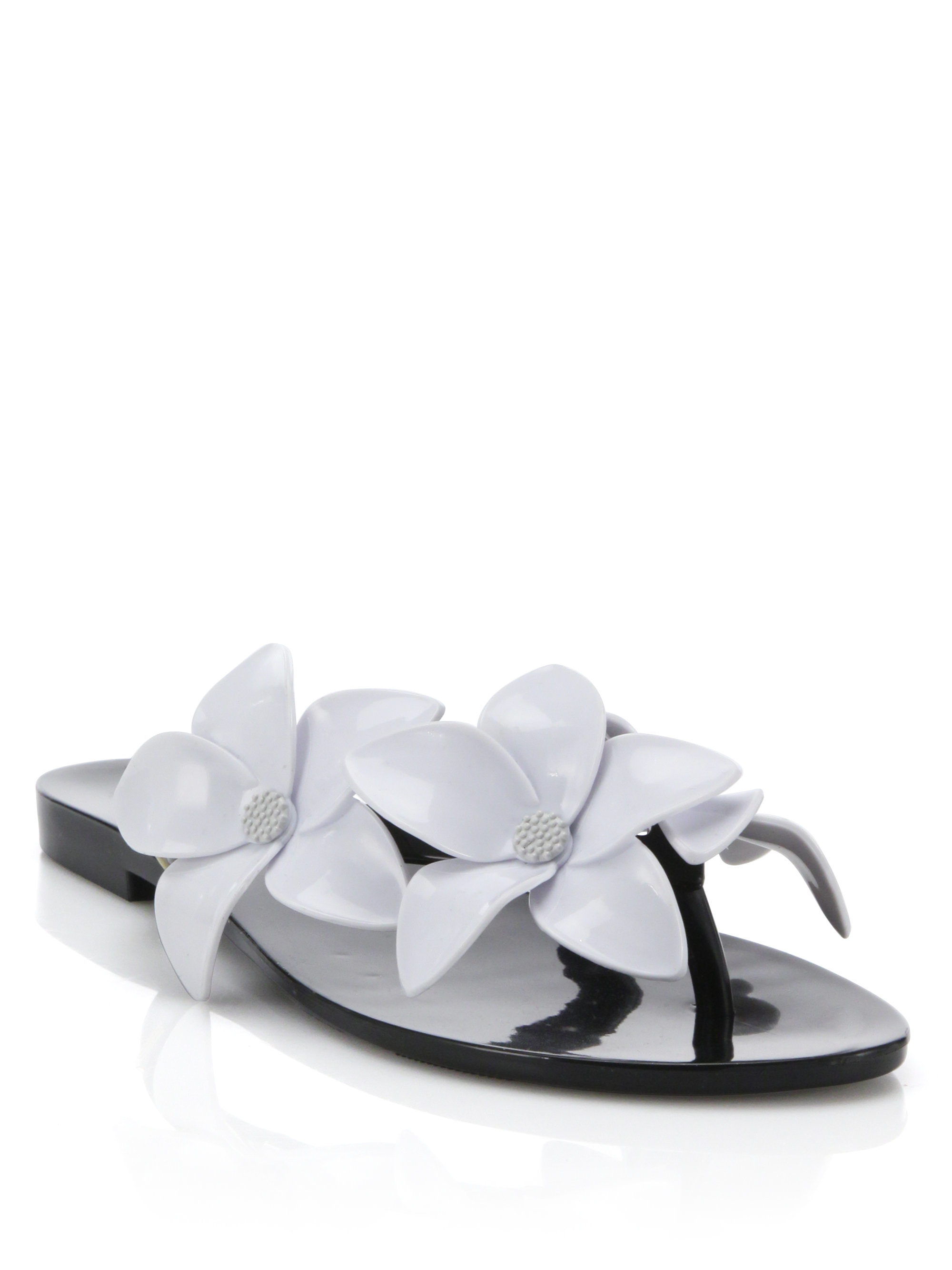 9e2dec2b1bd42 Lyst - Melissa Harmonic Flower PVC Flip-Flops in Black